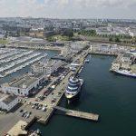 Vue aérienne : port du château, Abeille Bourbon quai Malbert