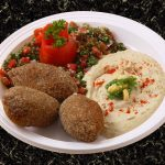 kibbe-garbanzo-cream-tomato-salad-dish